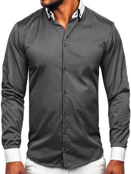 Koszula męska elegancka w paski z długim rękawem czarna Bolf 0909
