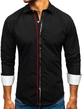 Koszula męska elegancka z długim rękawem czarna Bolf 1769-A