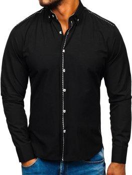 793de0b1b6f330 CZARNY; BIAŁY · Koszula męska elegancka z długim rękawem czarna Bolf 6920