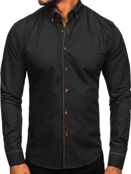 Koszula męska elegancka z długim rękawem czarna Bolf 6964