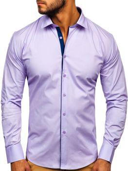 Koszula męska elegancka z długim rękawem fioletowa Denley TS50-1