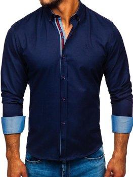 Koszula męska elegancka z długim rękawem granatowa Bolf 5801-A