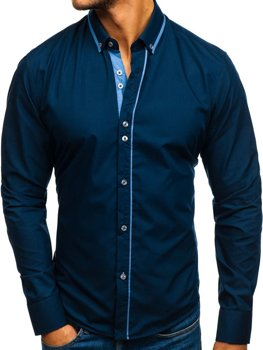 Koszula męska elegancka z długim rękawem granatowa Bolf 8823