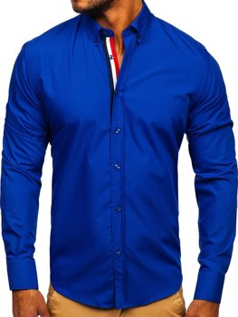 Koszula męska elegancka z długim rękawem kobaltowa Bolf 3713
