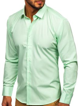 Koszula męska elegancka z długim rękawem miętowa Denley 0001