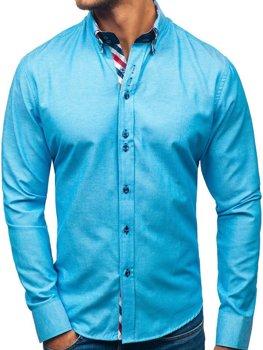 Koszula męska elegancka z długim rękawem turkusowa Bolf 2759