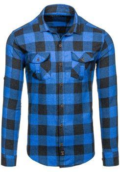Koszula męska flanelowa z długim rękawem niebieska Denley 1770
