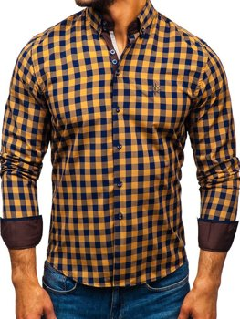 Koszula męska w kratę z długim rękawem brązowa Bolf 5816-A