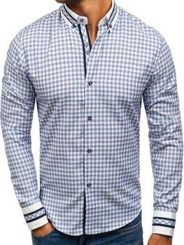 Koszula męska w kratę z długim rękawem niebieska Bolf 8808