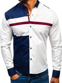 Koszula męska we wzory z długim rękawem biała Bolf 5729-A