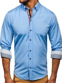 Koszula męska we wzory z długim rękawem błękitna Bolf 8843