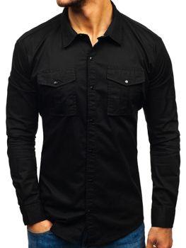 Koszula męska z długim rękawem czarna Denley 2058-1