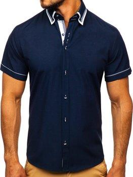 Koszula męska z krótkim rękawem granatowa Bolf 3520