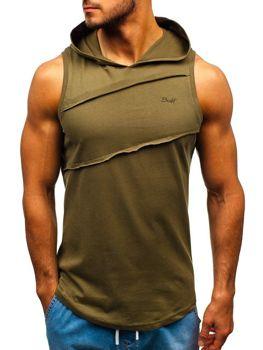 Koszulka tank top męska z kapturem khaki Bolf 1266