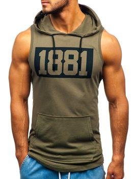 Koszulka tank top męska z nadrukiem i kapturem khaki Bolf 1281