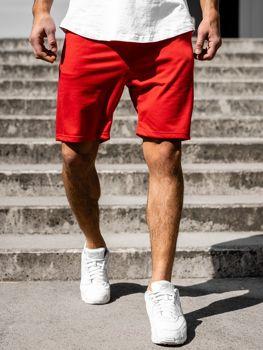 Krótkie spodenki dresowe męskie czerwone Denley B1002