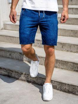 Krótkie spodenki jeansowe męskie granatowe Denley 5785