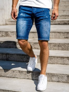 Krótkie spodenki jeansowe męskie granatowe Denley R3000