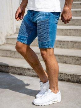 Krótkie spodenki jeansowe męskie niebieskie Denley 1058