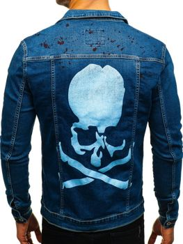 Kurtka jeansowa męska granatowa Denley 2052-1