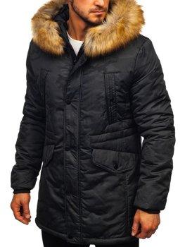 Kurtka męska zimowa parka czarna Denley JK339