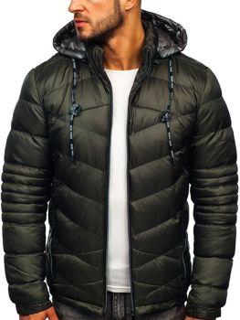 Kurtka męska zimowa sportowa pikowana khaki Denley 50A223