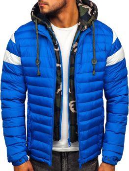 Kurtka męska zimowa sportowa pikowana niebieska Denley 50A462