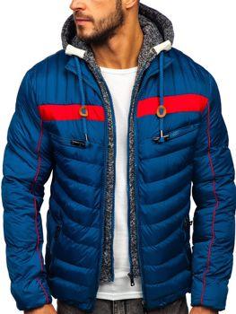 Kurtka męska zimowa sportowa pikowana niebieska Denley 50A71