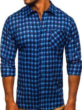 Niebieska koszula męska flanelowa z długim rękawem Denley F9