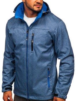 Niebieska kurtka męska przejściowa softshell Denley BK033