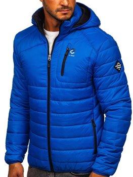 Niebieska pikowana przejściowa kurtka męska sportowa Denley BK031