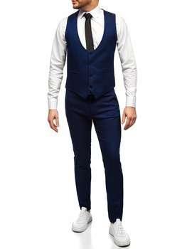Niebieski komplet męski kamizelka i spodnie Denley 0019
