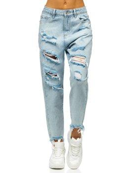 Niebieskie spodnie jeansowe damskie mom fit Denley WL1689