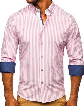 Różowa koszula męska w paski z długim rękawem Bolf 20704