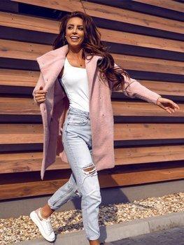 Różowy płaszcz damski Denley 7118-1