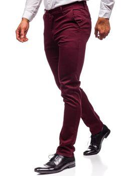 Spodnie chinosy męskie bordowe Denley KA969