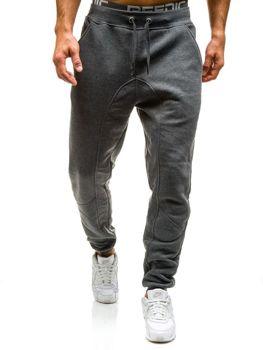 Spodnie dresowe baggy męskie grafitowe Denley x206