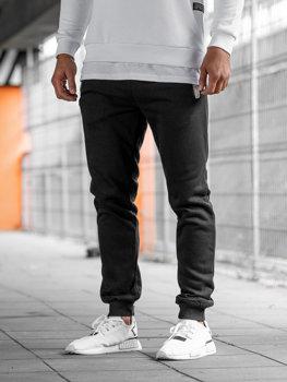 Spodnie dresowe joggery męskie czarne Denley AK13-1