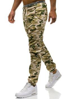 Spodnie dresowe joggery męskie moro-beżowe Denley 0367