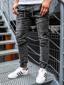 Spodnie jeansowe joggery męskie czarne Denley KA755