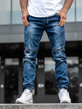 Spodnie jeansowe joggery męskie granatowe Denley  KA576