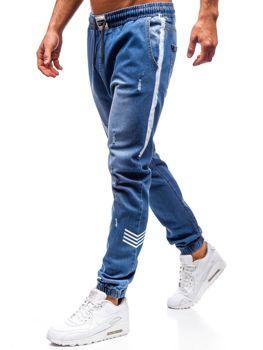 Spodnie jeansowe joggery męskie niebieskie Denley 2055