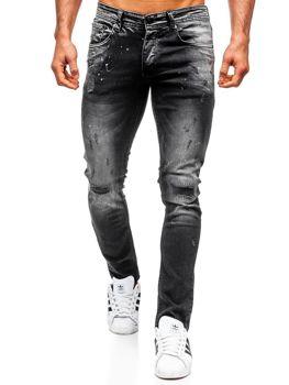 Spodnie jeansowe męskie regular fit czarne Denley 4000