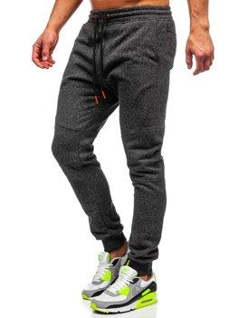 Spodnie męskie dresowe antracytowo-pomarańczowe Denley Q3778