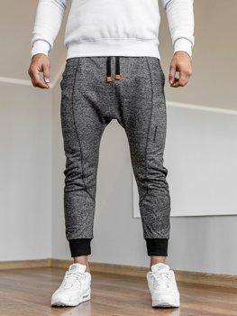 Spodnie męskie dresowe baggy czarne Denley Q5001