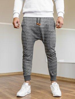 Spodnie męskie dresowe baggy grafitowe Denley Q5001