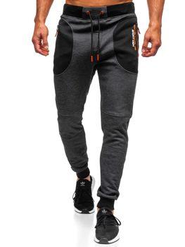 Spodnie męskie dresowe czarne Denley TC848