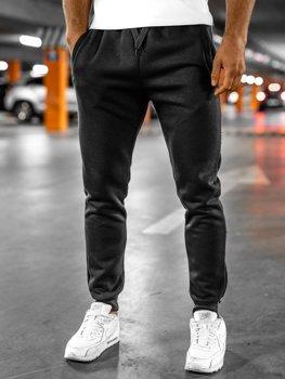 Spodnie męskie dresowe czarne Denley XW01