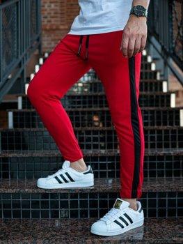 Spodnie męskie dresowe joggery czerwone Denley 11120