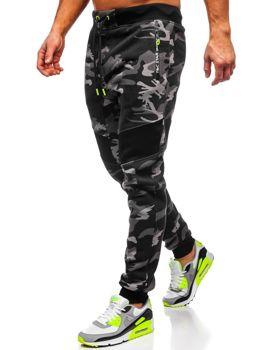 Spodnie męskie dresowe moro szare Denley TC873